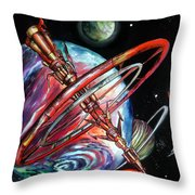 Giant, Old Red Space Shuttle Of Alien Civilization Throw Pillow