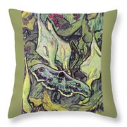 Giant Peacock Moth On Arum Throw Pillow