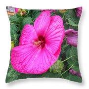Giant Pink Hibiscus Throw Pillow
