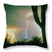 Giant Saguaro Cactus Lightning Storm Throw Pillow