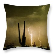 Giant Saguaro Southwest Lightning  Peace Out  Throw Pillow