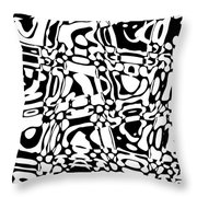 Gibberish Black And White Abstract Throw Pillow