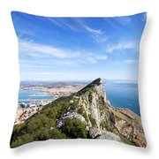 Gibraltar Rock Bay And Town Throw Pillow