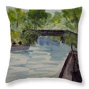 Giethoorn Boat Approaches Bridge Throw Pillow
