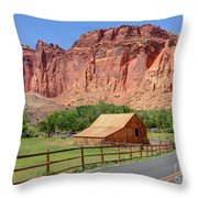 Gifford Homestead Barn - Capitol Reef National Park Throw Pillow