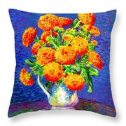 Gift Of Gold, Orange Flowers Throw Pillow
