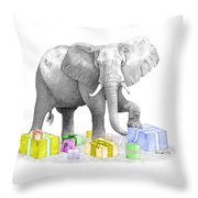 Gift Wrapping Elephant Throw Pillow