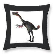 Gigantoraptor Dinosaur On White Throw Pillow