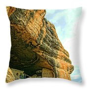 Gila Cliff Dwellings Looking Up Throw Pillow