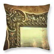 Gilded Mirror Reflection Of Chandelier Throw Pillow