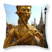 Gilded Statue Of A God At The Grand Throw Pillow