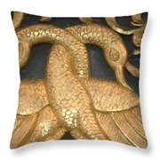 Gilded Temple Carving Of Geese Throw Pillow