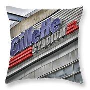 Gillette Stadium Sign Throw Pillow