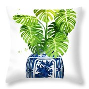 Ginger Jar Vase 1 With Monstera Throw Pillow