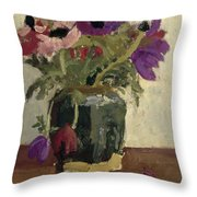 Ginger Pot With Anemones, George Hendrik Breitner, Ca. 1900 - Ca. 1923 Throw Pillow