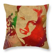 Ginger Rogers Watercolor Portrait Throw Pillow