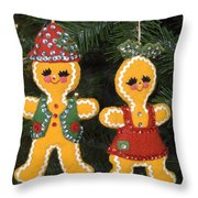 Gingerbread Christmas Ornaments Throw Pillow