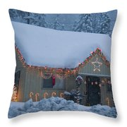 Gingerbread House In Snow Throw Pillow