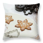 Gingerbread Making - Christmas Preparing With Vintage Kitchen Tools Throw Pillow