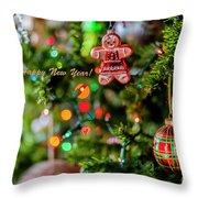 Gingerbread Man With Happy New Year 4350 Throw Pillow