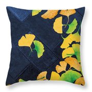 Ginkgo Leaves On Pavement Throw Pillow