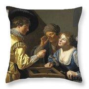 Giocatori Di Backgammon Throw Pillow