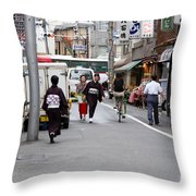 Gion District Street Scene Kyoto Japan Throw Pillow