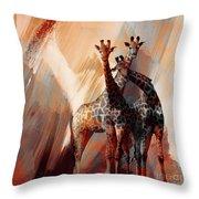 Giraffe Abstract Art 002 Throw Pillow