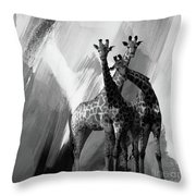 Giraffe Abstract Art Black And White Throw Pillow