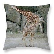 Giraffe And Baby  Throw Pillow