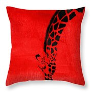 Giraffe Animal Decorative Red Wall Poster 3 - By  Diana Van Throw Pillow