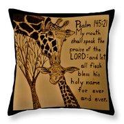 Giraffe Bible Verse Throw Pillow