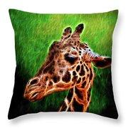 Giraffe Fractal Throw Pillow