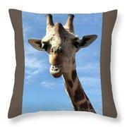 Giraffe Greeting Throw Pillow