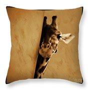 Giraffe Hiding  Throw Pillow