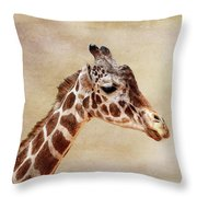 Giraffe Portrait With Texture Throw Pillow