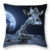 Giraffe On Moon Throw Pillow