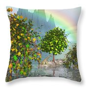 Giraffe Rainbow Heaven Throw Pillow