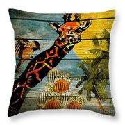Giraffe Rustic Throw Pillow