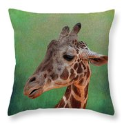 Giraffe Square Painted Throw Pillow