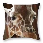 Giraffe Taking A Peek Throw Pillow