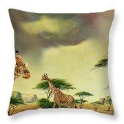 Giraffes At Thabazimba Throw Pillow