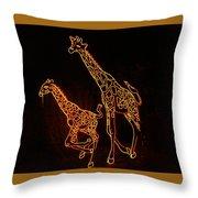 Giraffes Light Show  Throw Pillow