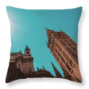 La Giralda Bell Tower Brilliantly Lit In Teal And Orange Throw Pillow