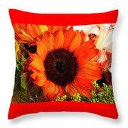 Girasol Naranja Throw Pillow