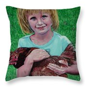 Girl And Chicken Throw Pillow
