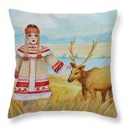 Girl And Deer Throw Pillow
