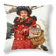 Girl And Dog In Ad For Sunlight Soap Throw Pillow