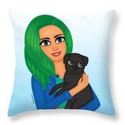 Girl And Dog Pet Throw Pillow