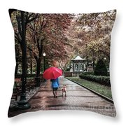 Girl And Her Dog Throw Pillow